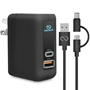 Naztech Adaptive Fast Charge + USB-C Wall Charger with Hybrid USB-C Cable