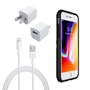iPhone 8/7/6S/6 Bundle with Speck Presidio Grip Case - Apple OEM Wall Charger, and Lightning Cable