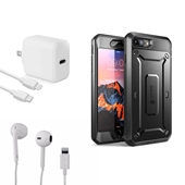 iPhone 7/8/SE 2020 Bundle with Full body case + Apple OEM headset and 18W Wall Charger + USB-C to Lightning Cable White