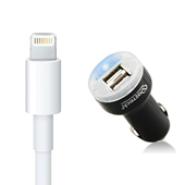 Apple Certified Lightning Data / Sync Cable Plus Dual USB Vehicle Charger