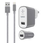 Belkin Mixit Metallic Premium Charging Kit for Apple 8-Pin Lightning USB Devices (Universal Car/Wall Chargers with Apple 8-Pin Lightning USB Cable) - 2.4A - Gray