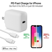 18W PD Wall Charger + USB-C to Lightning Cable White