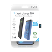 TYLT - Xact 10K Wireless Charging Pad and Power Bank 5W 10,000 mAh - Blue