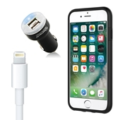 iPhone 8/7/6S/6 Bundle with Incipio Dual Pro Case - Dual USB Vehicle Charger, OEM Quality Lightning Cable
