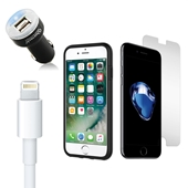 iPhone 8/7/6S/6 Bundle with Incipio Dual Pro Case - Dual USB Vehicle Charger - OEM Quality Lightning Cable and Tempered Glass Screen Protector