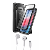 iPhone XR Bundle with Unicorn Beetle - Full body case and Apple OEM corded headset with Lightning connector